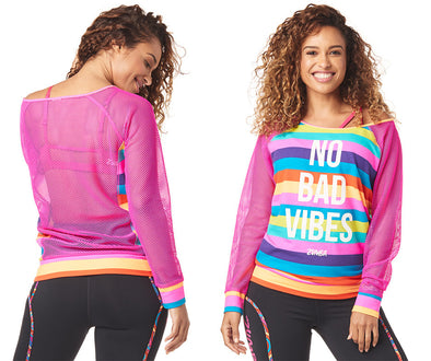 Zumba No Bad Vibes Zumba Pullover - Shocking Pink Z1T01740