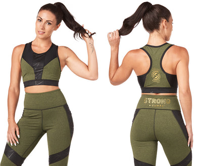 Strong by Zumba Don't Mesh With Me Bra - Olive Green Z1T01786