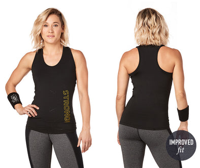 Strong by Zumba Rep After Rep Racerback Top - Bold Black Z1T01789