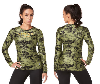 Strong By Zumba Long Sleeve Top - Olive Green Z1T01790 XL