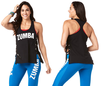 Zumba Keep Dancing Laced Up Tank - Bold Black Z1T01800