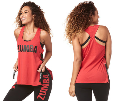 Zumba Keep Dancing Laced Up Tank - Viva La Red Z1T01800 XL