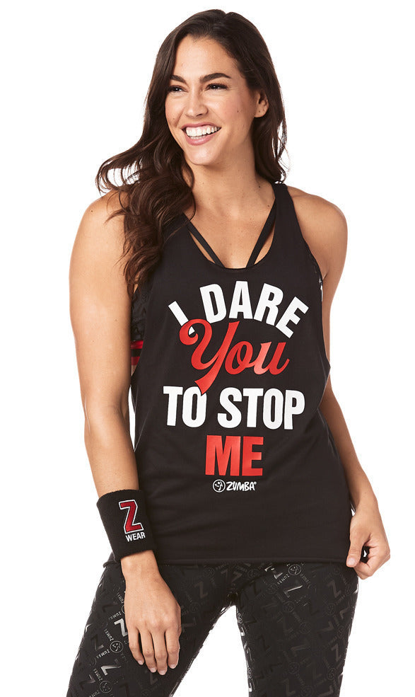 Zumba I Dare You Loose Tank - Bold Black  Z1T01803