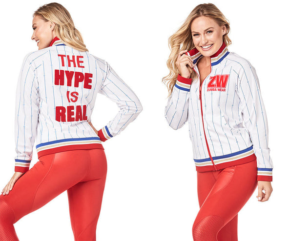 Zumba Varsity Zip-Up Jacket - Wear It Out White Z1T01817