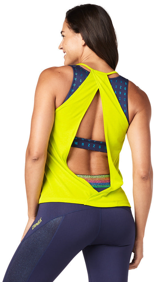 Zumba Glam Open Back Tank - Zumba Green Z1T01849