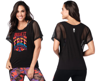 Zumba Break It Free Mesh Top - Bold Black Z1T01927