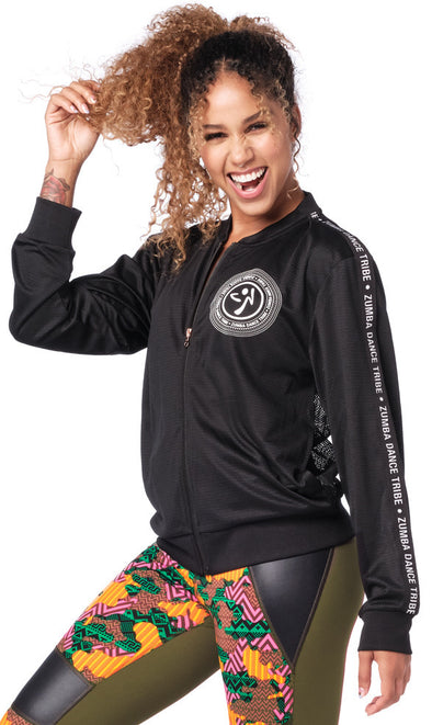 Zumba Dance Tribe Mesh Zip-Up Jacket - Bold Black Z1T01929