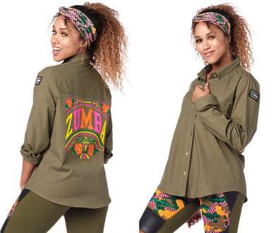 Zumba Dance Tribe Button Up Shirt - Seaweed Z1T01931
