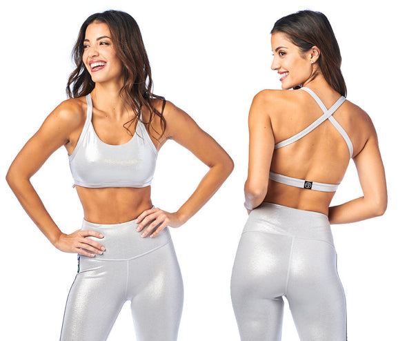 Zumba Metallic Open Back Bra - Silver Z1T01946