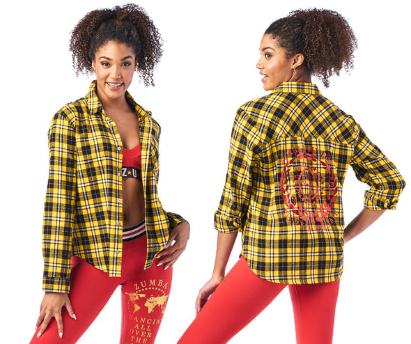 Zumba Ready To Dominate Button Down Shirt - Caution Z1T01967