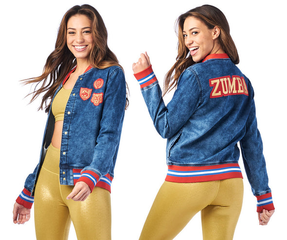 Zumba Spirit Denim Bomber Jacket - Denim Z1T01973