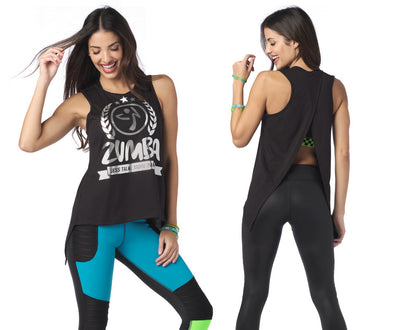 Zumba Less Talk More Dance Open Back Tank - Bold Black Z1T02006