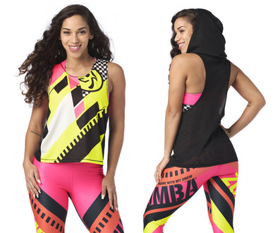 Zumba Better Faster Sleeveless Hoodie - Bold Black Z1T02010