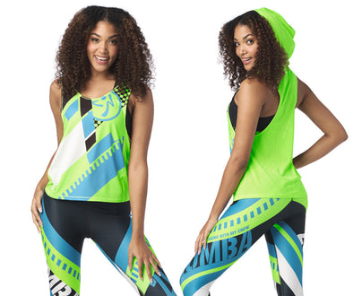 Zumba Better Faster Sleeveless Hoodie - Get in Lime Z1T02010