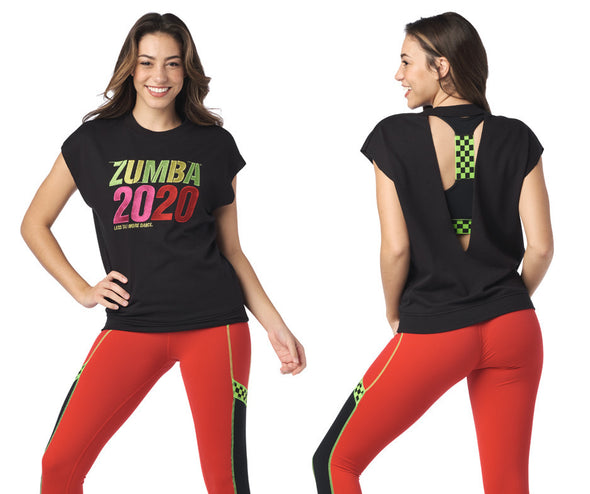 Zumba 2020 Open Back Top - Bold Black Z1T02018