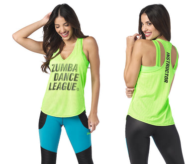 Zumba Dance League Instructor Mesh Tank - Get in Lime