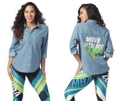 Zumba Move With Me Button Up Shirt - Denim Dream Z1T02043