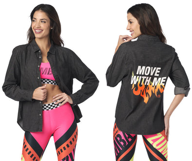 Zumba Move With Me Button Up Shirt - Bold Black Z1T02044