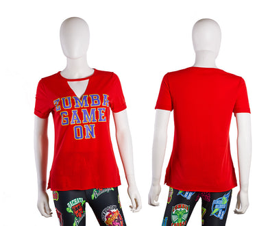 Zumba Game On V-Cut Out Top - 2 Colors Z1T02095