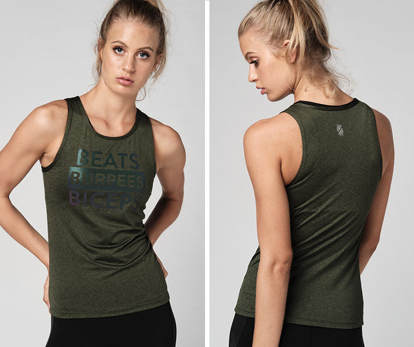 Strong Nation Graphic Tank - Army Green Z1T02225