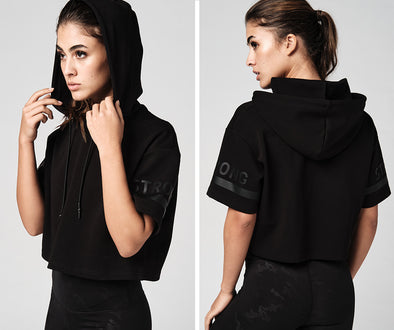 Strong Nation Short Sleeve Crop Hoodie - Black Z1T02235