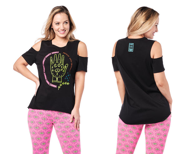Zumba Vibes Cold Shoulder Top - Bold Black Z1T02272