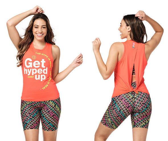 Zumba Get Hyped Up Tank - Bold Black / Coral Craze Z1T02310