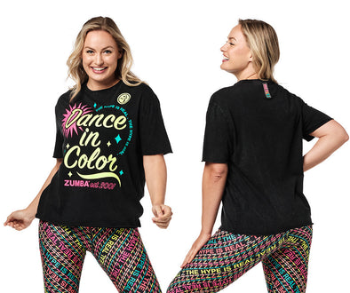 Zumba Dance In Color Top - Bold Black / Coral Craze Z1T02318