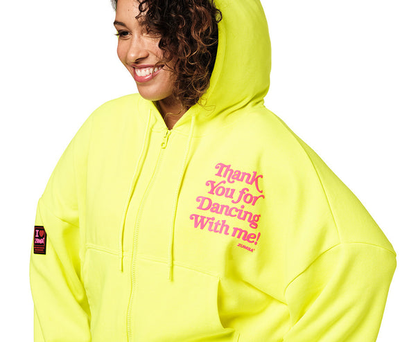 Zumba Thank You For Dancing With Me Zip-Up Jacket - Caution Z1T02380