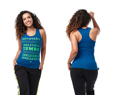 Zumba Unstoppable Racerback - Bold Black / Surfs of Blue Z1T02383