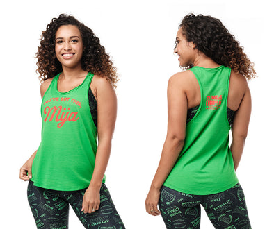 Zumba Mija Tank - Bold Black / Kelly Green Z1T02386