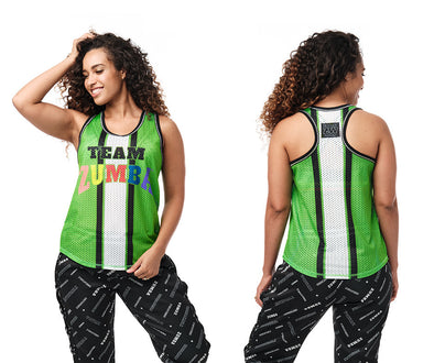 Zumba Team Zumba Mesh Tank - Kelly Green / Coral Crazy Z1T02387