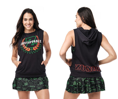 Zumba Unstoppable Sleeveless Hoodie - Bold Black / Caution Z1T02392