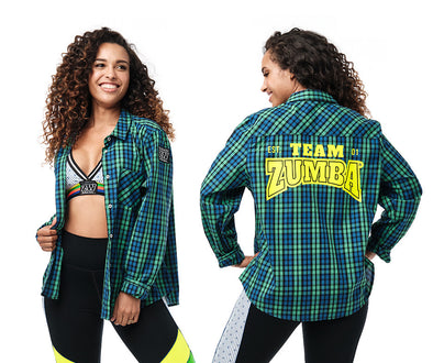 Zumba Team Talk Button Down - Kelly Green Z1T02394