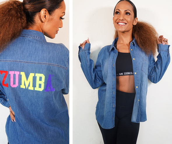 Zumba Game On Button Up Top - Denim Z1T02431