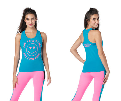 Zumba Have A Nice Dance Racerback Top - Blue / Black Z1T02434