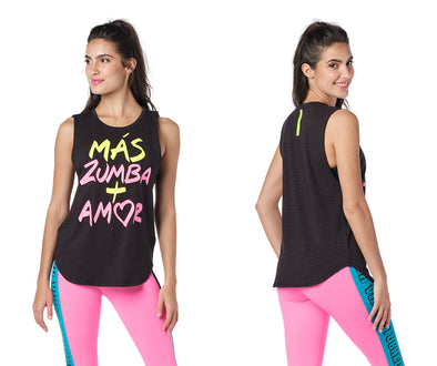 Zumba Pop Muscle Tank Top - Bold Black Z1T02436