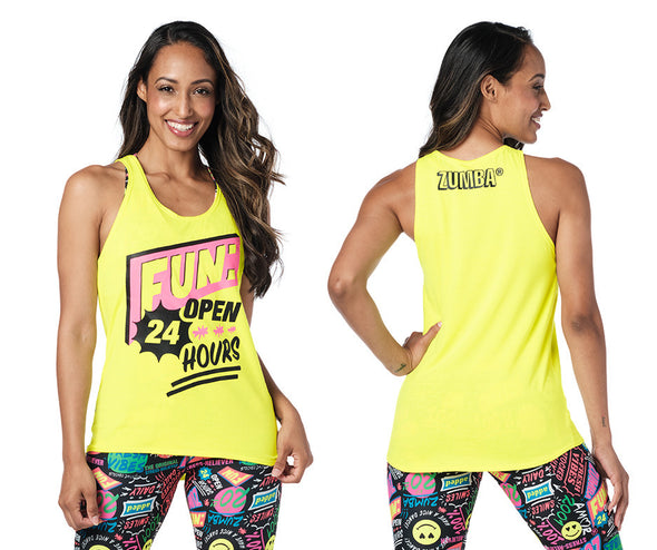 Zumba Open 24 Hours Tank - Bold Black / Caution Z1T02438