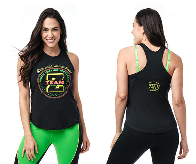 Zumba Team Zumba High Neck Tank - Black / White Z1T02599