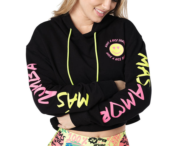 Zumba Have A Nice Dance Crop Pullover - Bold Black Z1T02729