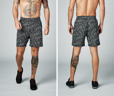 Strong Nation STRONG ID Men's Logo Printed Shorts - Black Z2B00256