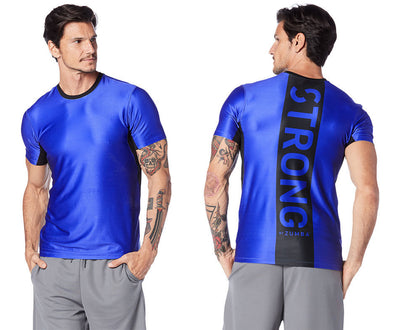Strong by Zumba Get Amped Men's Performance Top - Surfs Up Blue Z2T00378