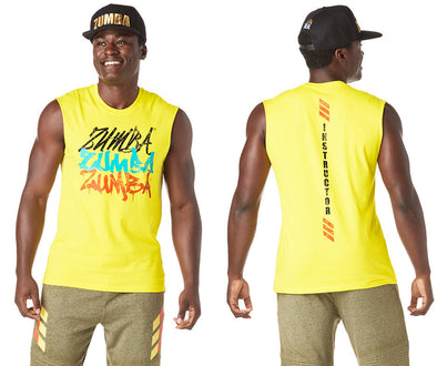 Zumba Love Over Likes Instructor Men's Muscle Tank - Mell-Oh Yellow Z2T00397