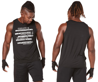 Strong by Zumba Squat & Burpees Men's Tank - Bold Black Z2T00399 Medium