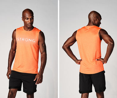 Strong Nation STRONG ID Reflective Logo Men's Tank - Orange Z2T00484