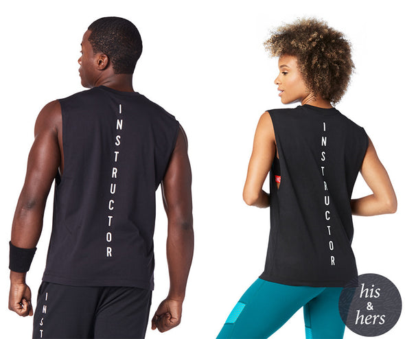 Zumba Unisex Feel Every Beat Instructor Tank - Bold Black Z3T00126