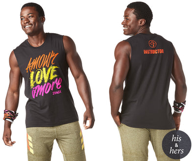 Zumba Unisex Amour Love Amore Instructor Muscle Tank - Bold Black Z3T00190