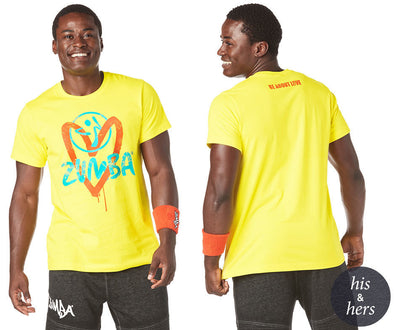 Zumba Unisex Be About Love Tee - Mell-Oh Yellow Z3T00191