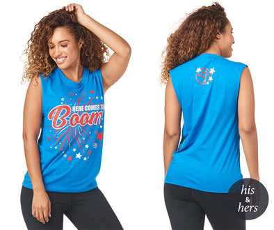 "Zumba Unisex ""Here Comes The Boom"" Fireworks Tank - Jersey Blue Z3T00208"