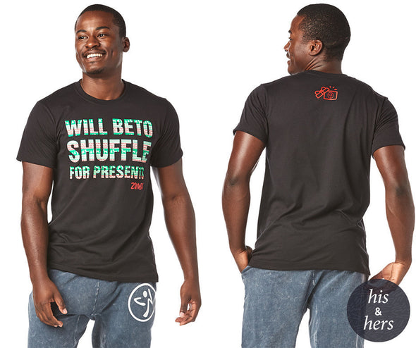 Zumba Beto Shuffle For Presents Tee - Bold Black Z3T00238
